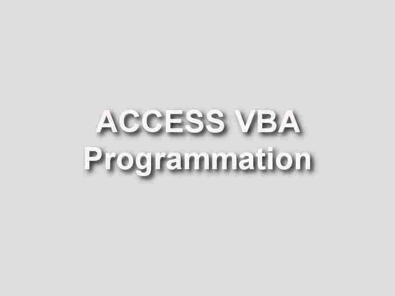 formation Access VBA